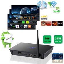 KODI 17.0 Amlogic S912 CPU Android 6.0 2GB DDR3 RAM 16GB NAND ROM X92 tv set box