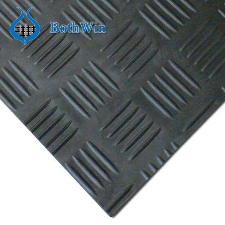 Black Color Checker Plate Rubber Sheet