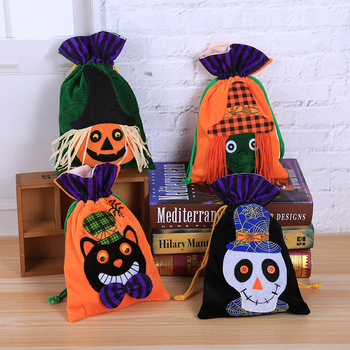 New Design pumpkin Reticule colorful cute tote sack bag children decorative drawstring gift bag Velvet halloween candy bags
