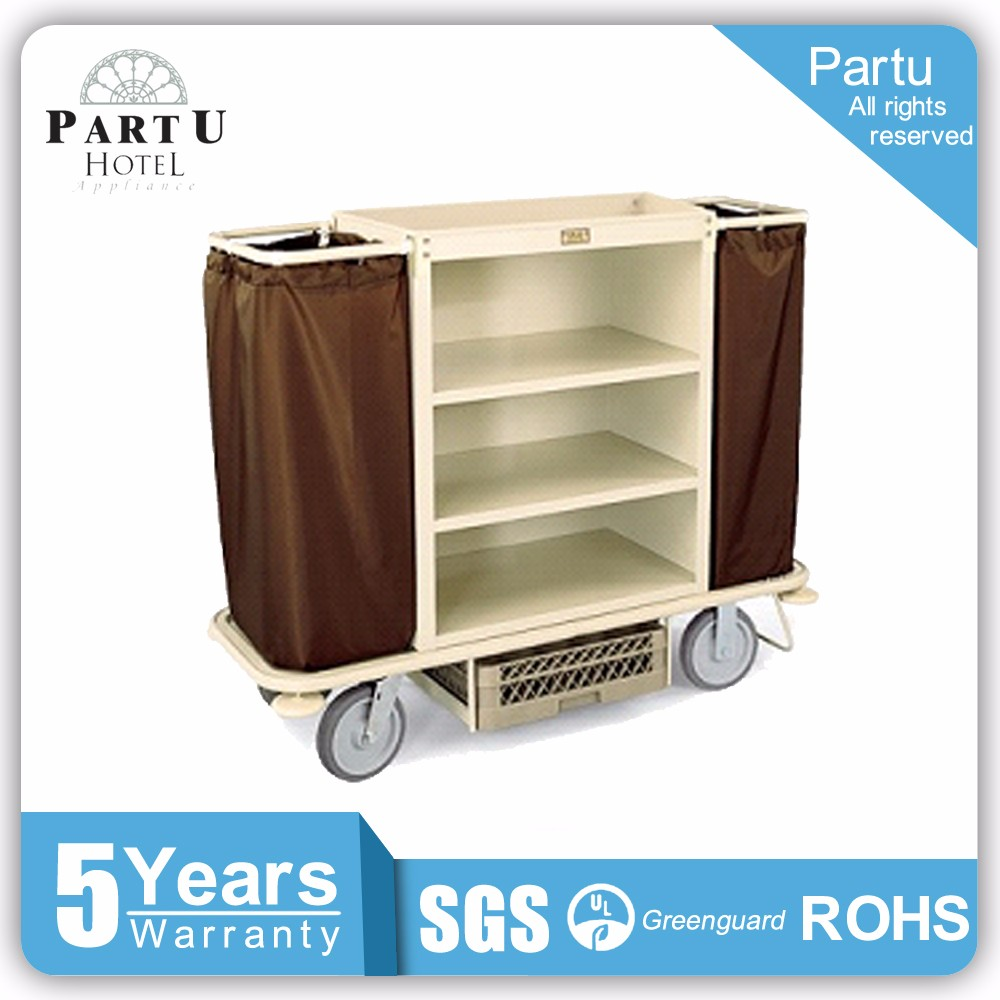 Partu Corner Bumpers Plastic Hotel Housekeeping Maid Cart Trolley