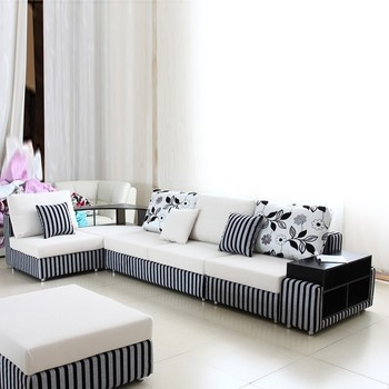 Whe And Black Living Room Furniture Modern 2017 Corner Sofa Set Fabric