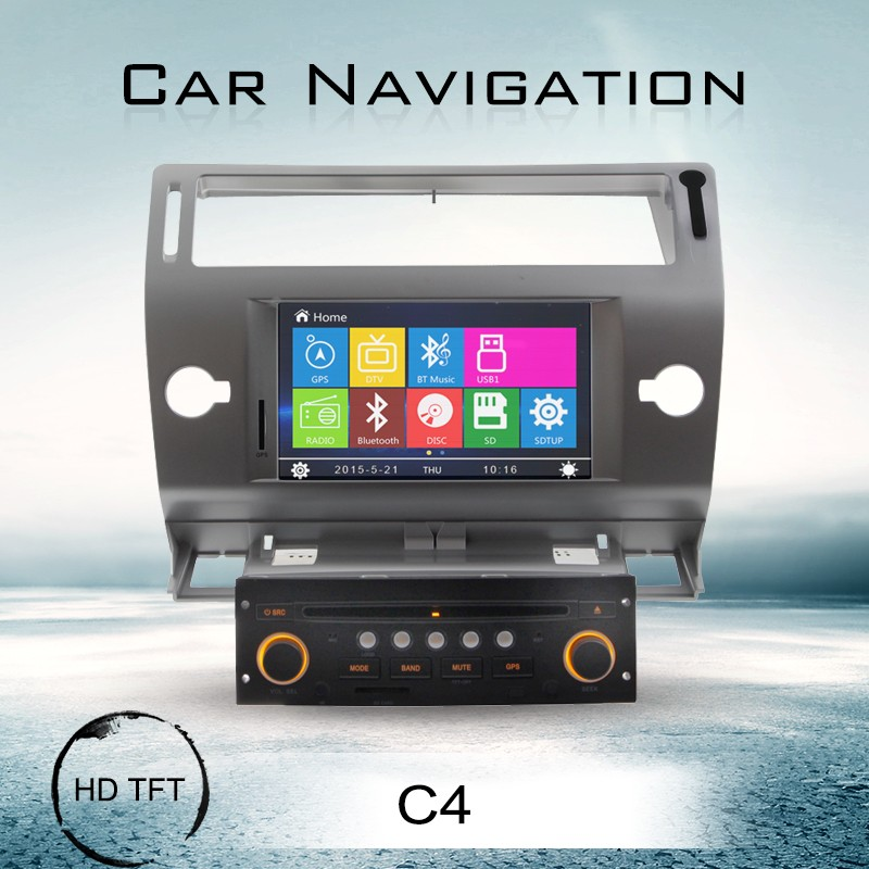 LD-2256 high definition car radio gps navigation vedio dvd player for citroen c4 with sd card