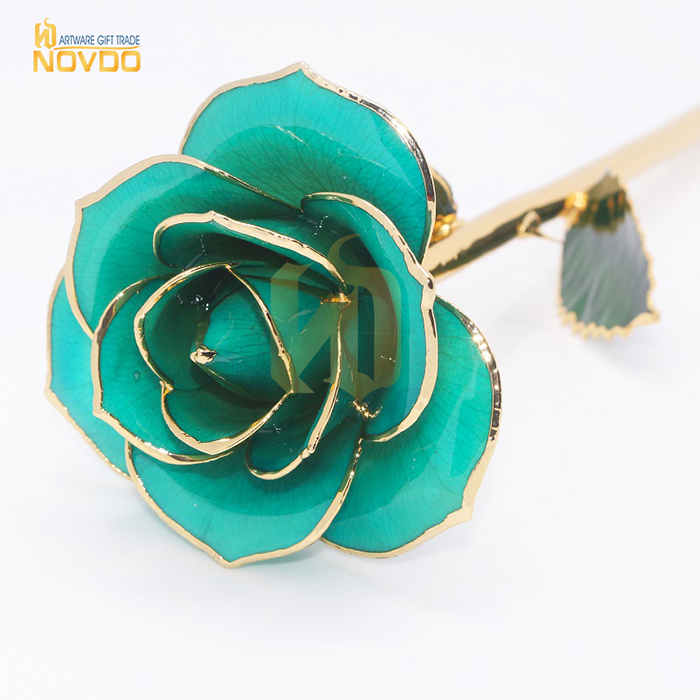 Natural Rose Dipped 24k Gold Natural Blue Flower For Wedding Gifts