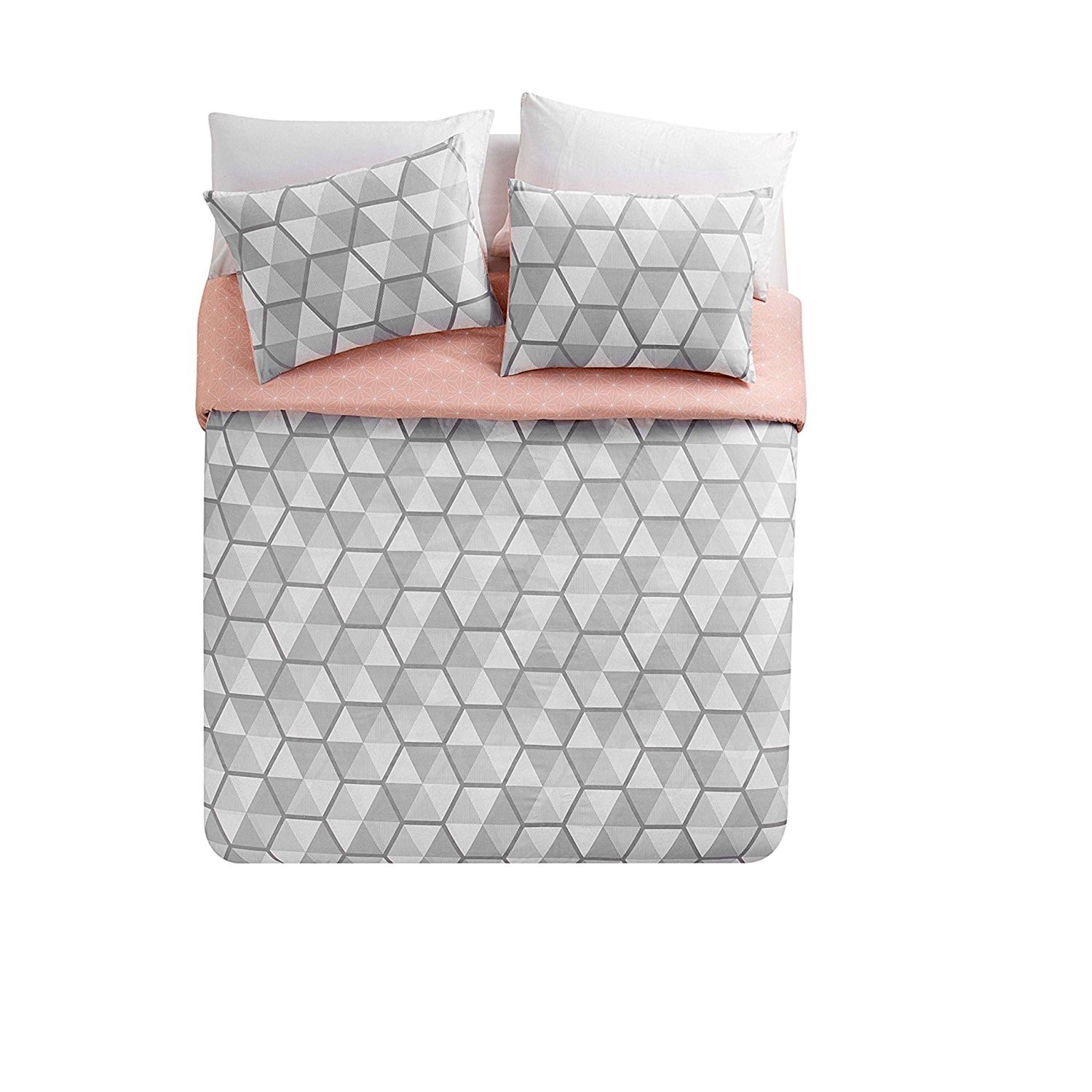 MI 3 Piece Girls Grey White Geometric Illusion Duvet Cover King Set, Bold 3D Abstract Triangle Illusions Themed Bedding, Chic Light Pink Polka Dot Reversible Pattern, Polyester