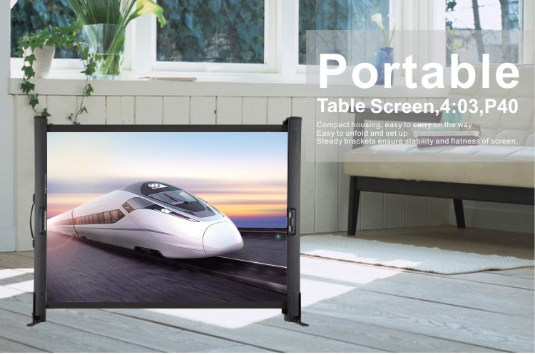 Most convenient matt white projection surface 40 inch Format 4:3 Portable Table Screen