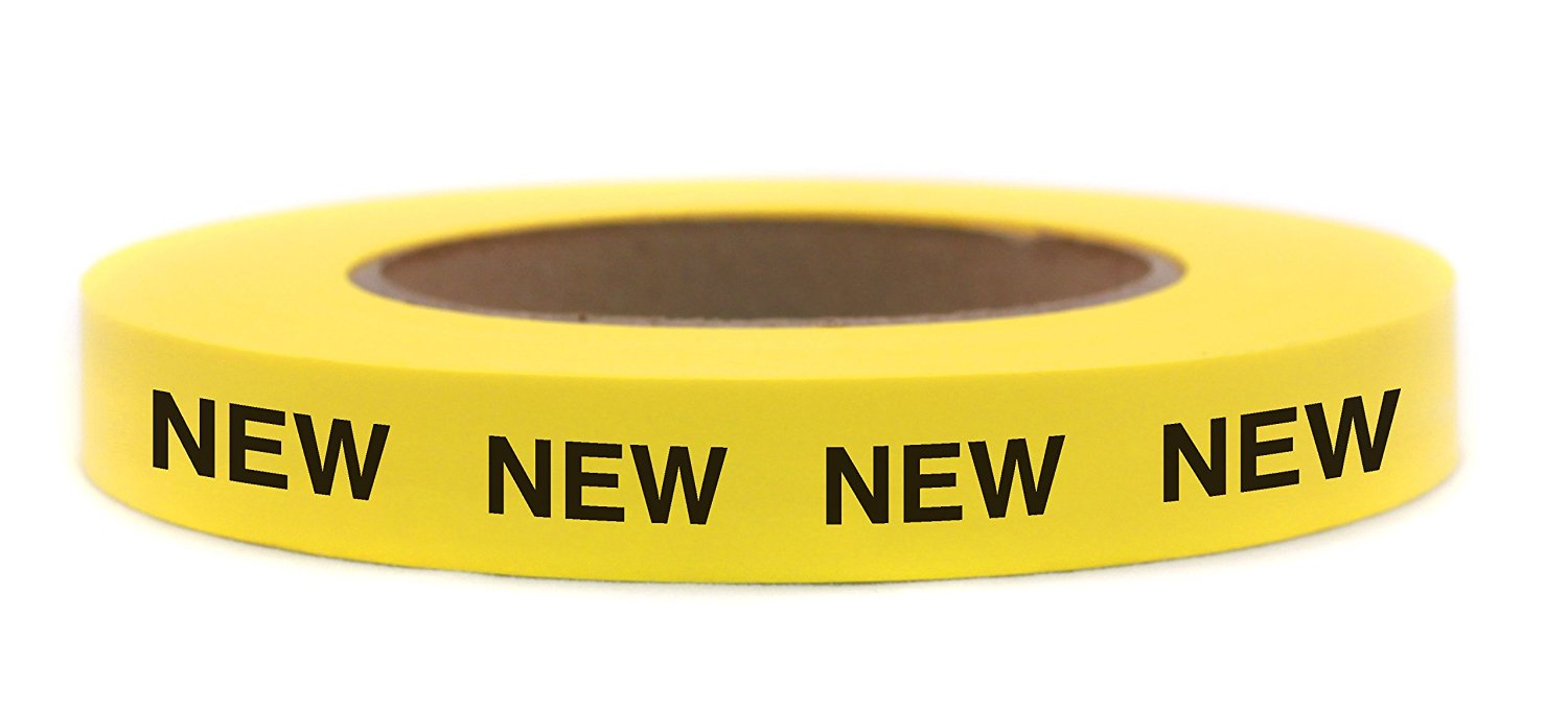 "48 Roll Case: ""NEW"" Continuously Imprinted, Removable-Adhesive Yellow Tape 