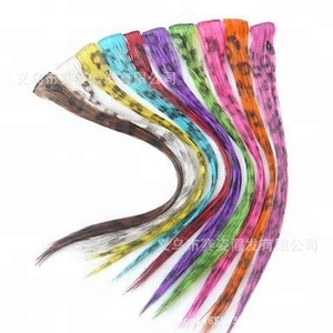 Colored Party Highlights Clip on in Hair Extensions Multi-Colors Hair Streak Synthetic Hairpieces for Womens and Kids