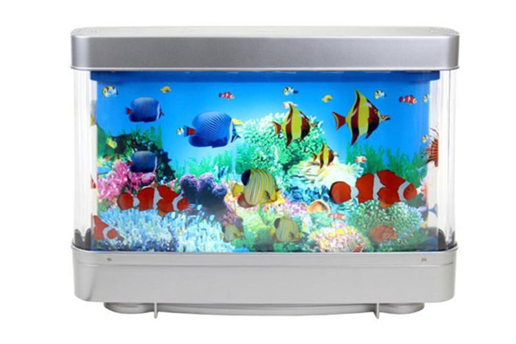 6w battery powered decorative rotating lamp fake fish tank for Fake artificial aquarium fish tank