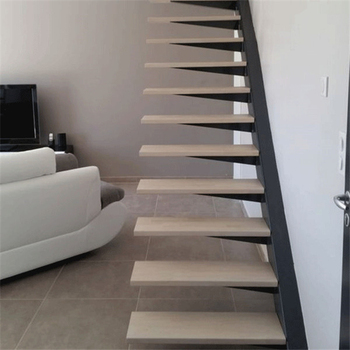 Interior Solid Wood Floating Staircase Design With Stainless Steel Wall  Handrail