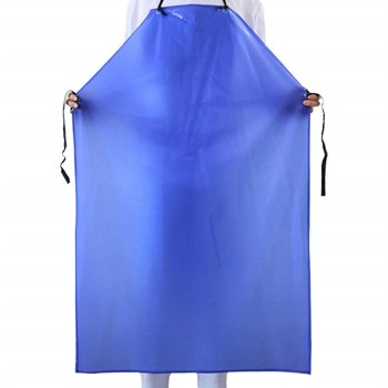 Heavy duty washable Womens black white butcher PVC apron waterproof with sleeves, chemical clear kitchen plastic apron