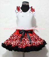 Minnie Red White Polka Dots EXTRA FULL Pettiskirt with Matching White Tank Top with White Bow and Red White Polka Dot Ruffles