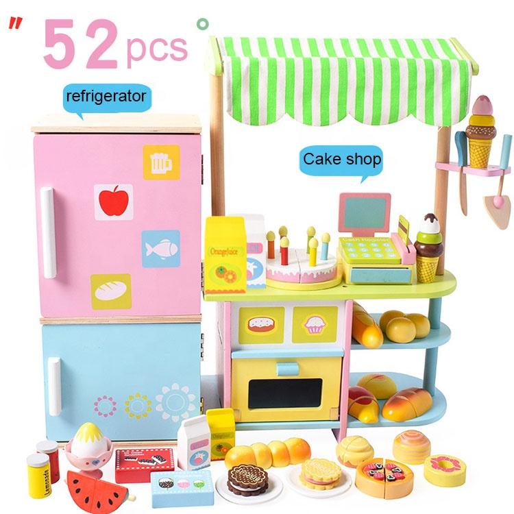 Multi Preschool Fruit vegetable supermarket Refrigerator cake Wooden kitchen Cutting fruit toy