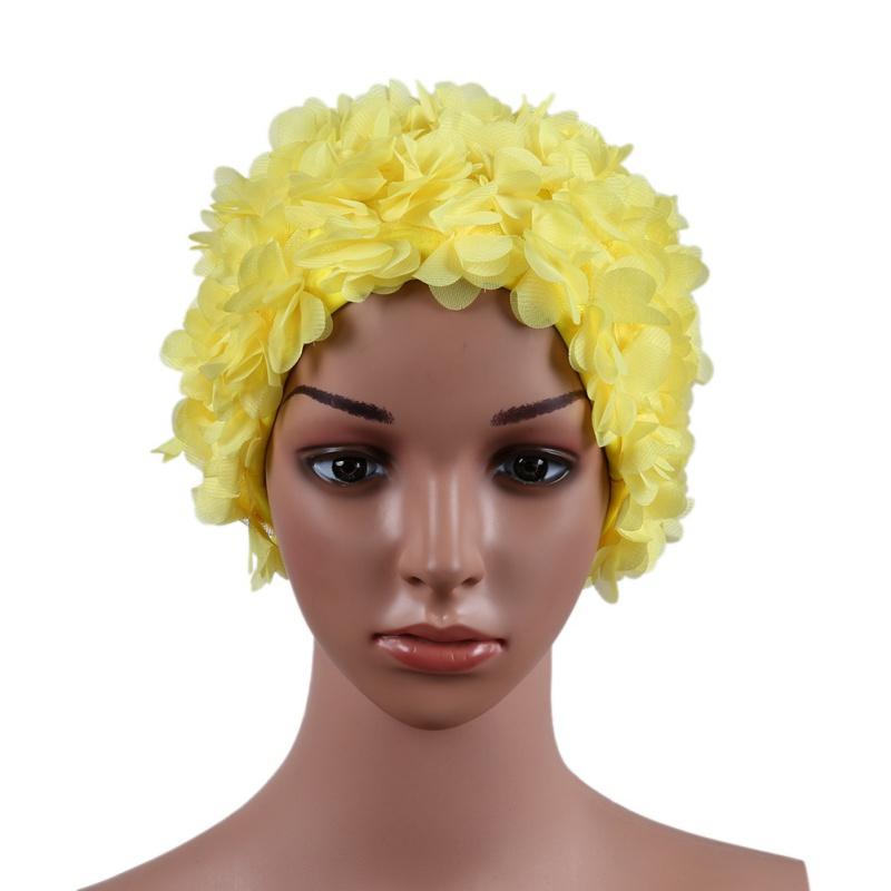 Compre Floral Do Vintage Das Senhoras Mulher Touca De Natação Pétala ... 61b0116f9c7