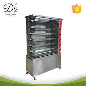 Energy-saving Stainless steel chicken oven 6 layer gas rotisserie with stand