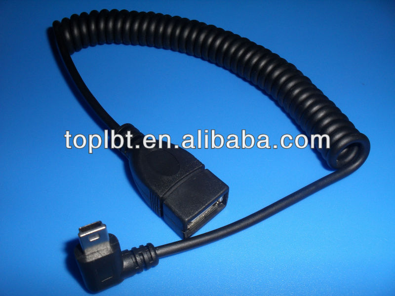 New Arrival Factory price Mini-USB Spiral Coiled Cable Mini 5 Pin Left Angle to USB 2.0 A Female extension Cable