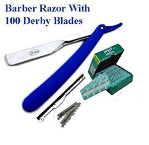 Straight Edge Razor Barber Razor Changeable blades STRAIGHT CUT THROAT SHAVING BARBER RAZOR + 100 Derby Blades