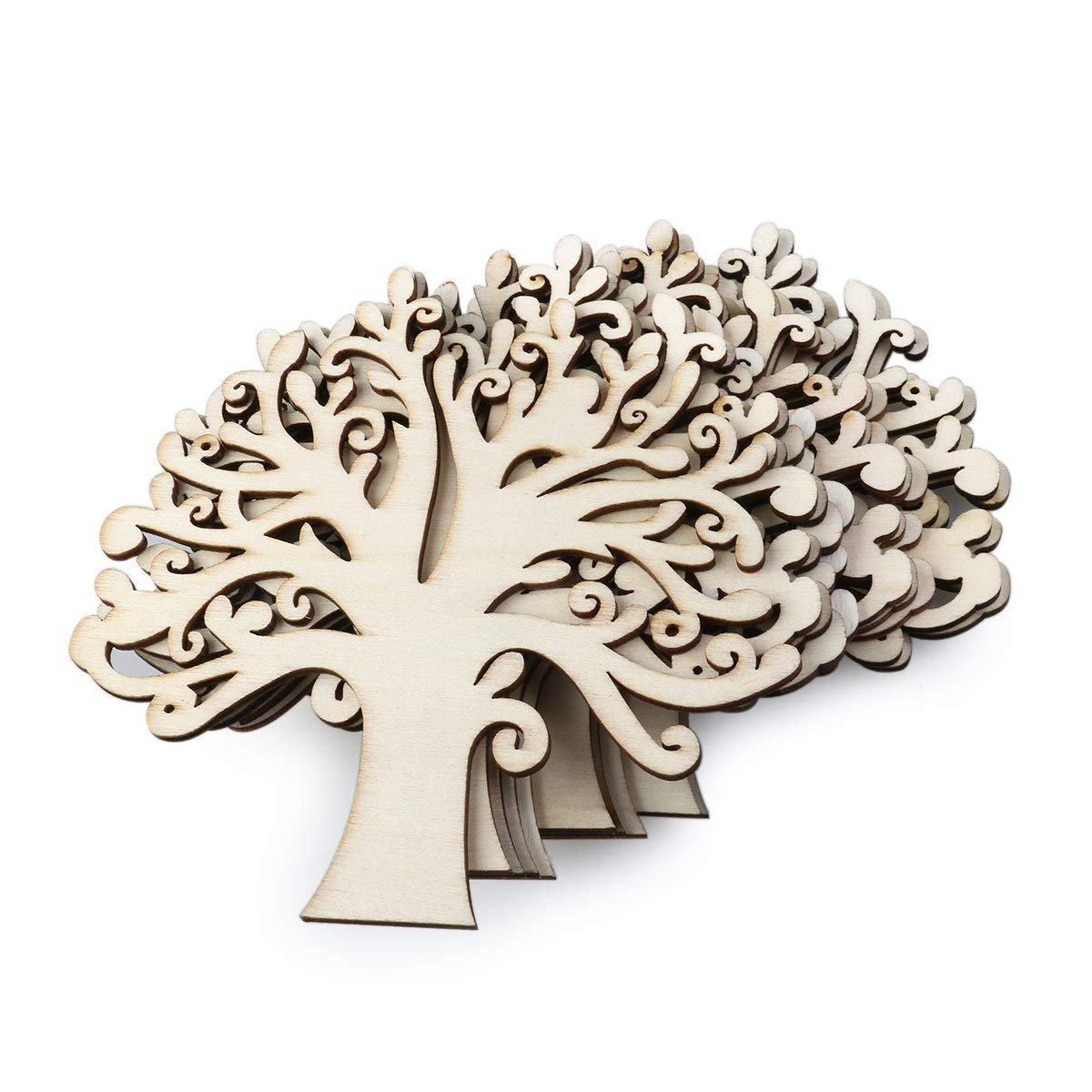 UEETEK 10pcs Family Tree Wood Cutout Blank Wooden Embellishments for DIY Crafts (Wood Color)