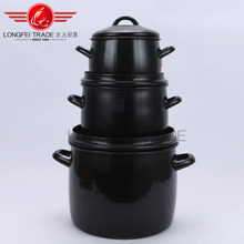 wholesale cheap black enamelware /Dutch Ovens/cooking pot with double handle