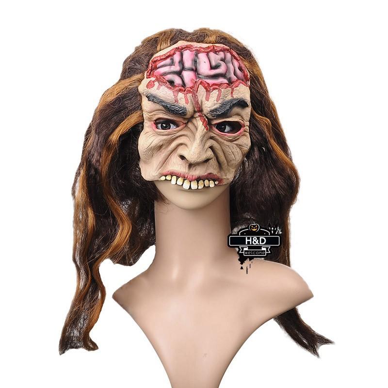 Scary Mask Ghost Brain Long Hair Mask Latex Devil
