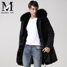 Winter Fake Fur Parka Black Cotton Shell Men Parka Coat