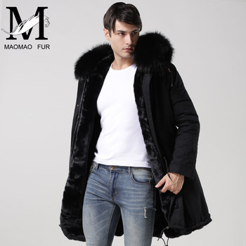 Winter Fake Fur Parka Black Cotton Shell Men Parka Coat - Buy Men ...