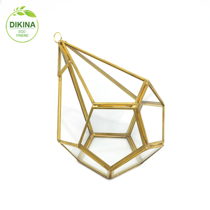 Crystal geometric glass wedding centerpiece crystal lotus flower wrought iron floor standing candle holder