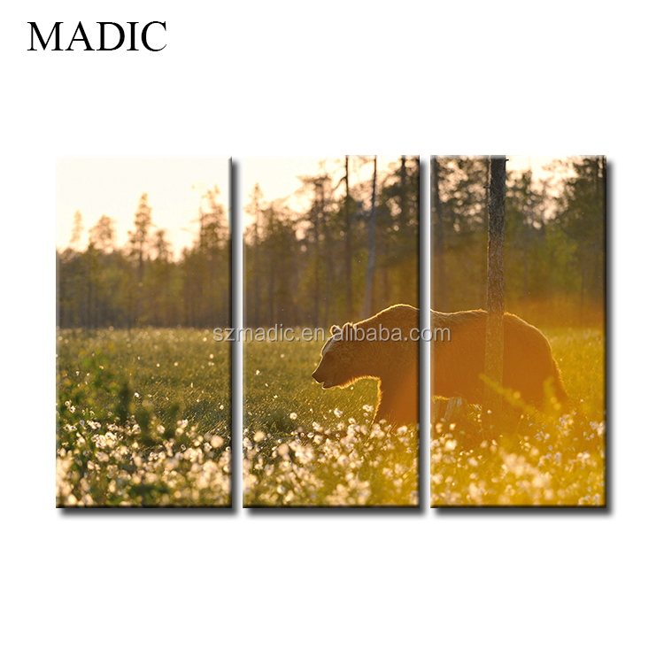 Oil Painting Canvas Large Size 3 Panel Animal Wall Art HD Printed Pictures Bear in the Flower Field Animal Wall Painting Framed