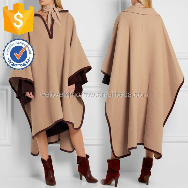 Women Maxi Sand Wool and Cashmere-blend Cape Manufacture Wholesale Fashion Women Apparel(TS0047C)