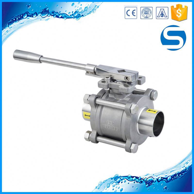 3A Sanitary welded 3 way female thread ball valve