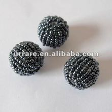 Gunmetal Black Seed Bead Balls for Hoop Earrings