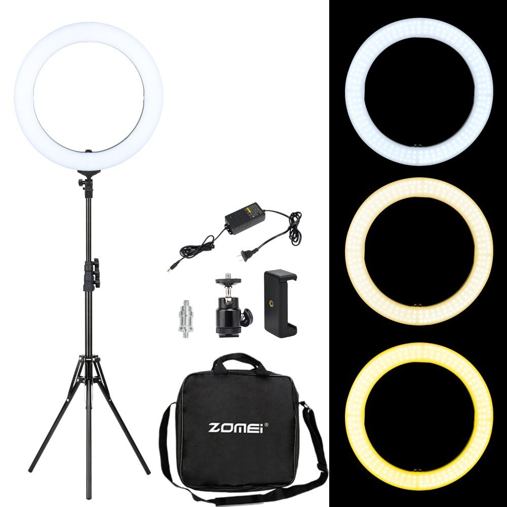 Zomei Ring Light 18-inch Outer 224 Pieces LED SMD Light- 58W 3200K-5500K, Dimmable Ring Light with Stand and Camera Phone Adapter for Makeup, Portrait, Youtube Video Shooting