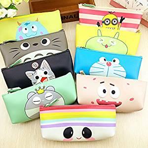 Katoot@ Cartoon Kawaii Totoro pencil case Cute Bear Panda Cat School PU Leather pencil case for kids school Office supplies Canetas