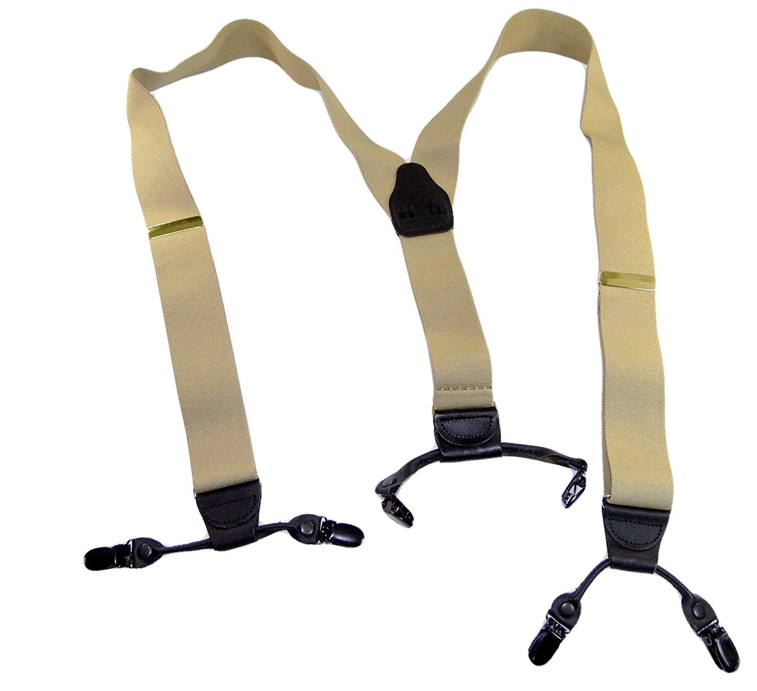Holdup USA made Sand Dunes Light Tan Dual Clip Double-Ups Style Suspenders with Patented No-slip center pin Clips