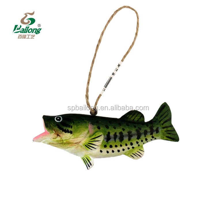 Ready to ship wooden gift 144 per box gift handmade carved 3D decorative wood craft fish decor