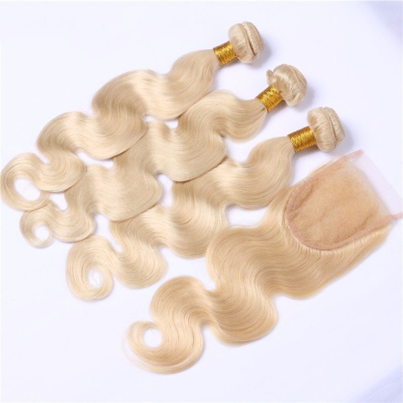 Top sale blonde human hair extensions, cuticle aligned remy brazilian hair color 613 virgin hair unprocessed