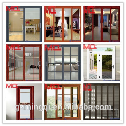 Balcony Pvc Sliding Glass Door With Grills Insert Double Tempered Glass