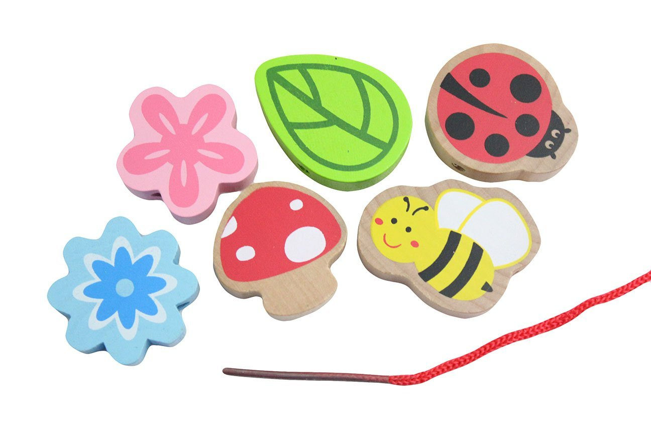 Jumbo Beginner Flower Ladybug Wood Beads Toy - Toddler Lacing, First Lacing, OT, Jumbo Large Beads, Montessori, Natural, Waldorf