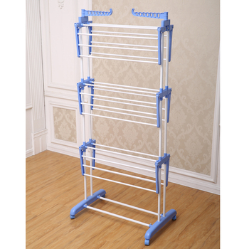 Jp Cr300w Portable Metal Trolley 3 Layer Cloth Laundry Hanging Rack Dryer