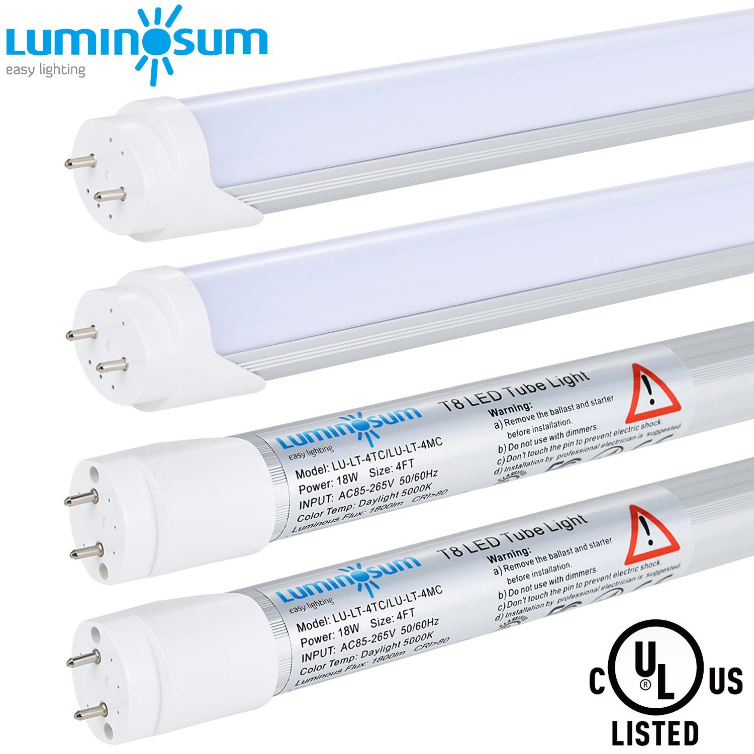 LUMINOSUM T8 LED Tube Light 4ft 18W, 36W Equivalent, Single-Ended Powered, G13 Base, Frosted Cover, Daylight 5000K, 4-Pack