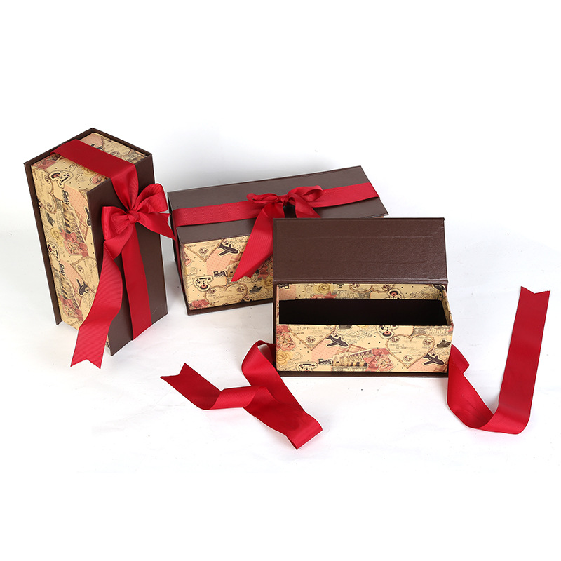Creative han edition carton box set wholesale gift boxes three-piece take bowknot exquisite birthday box
