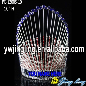 Wholesale 4TH Of July Pageant Red And Blue Rhinestone Patriotic Crowns