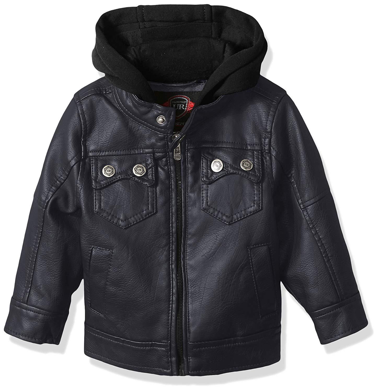 Urban Republic Boys Artsy Faux Leather Azymetrical Moto Jacket