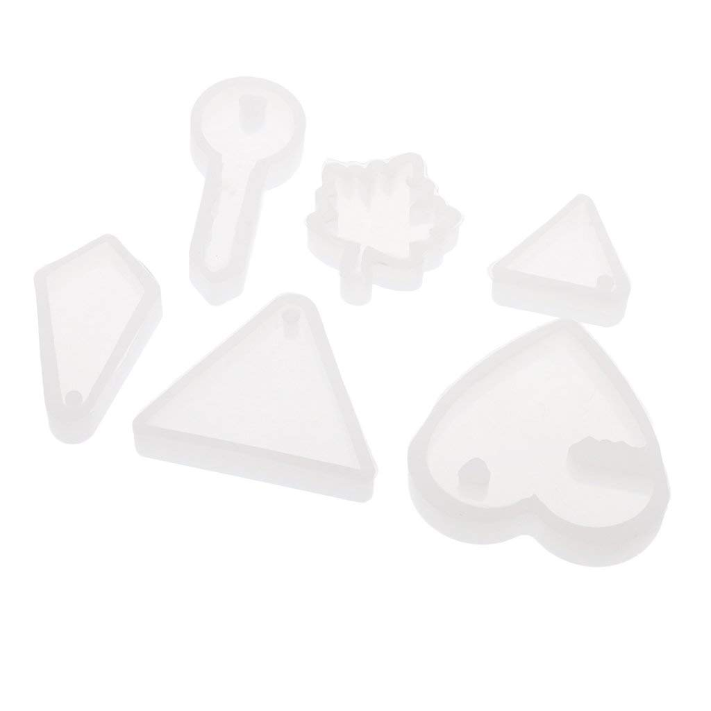 Homyl 6 Designs Jewelry Making Silicone Mold Moulds, Pendant Mold for Polymer Clay, Crafting, Resin Epoxy, Earrings Charms Necklace Making, DIY Mould Tools