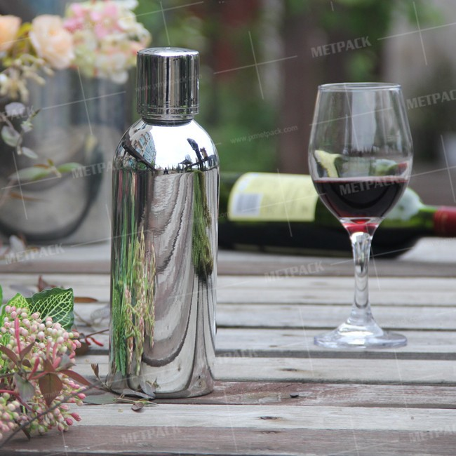 Food grade 700ml metallic aluminum vodka bottle