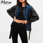 fashion womens denim jacket with pu leather sleeves