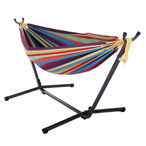 Space saving outdoor swing garden folding hammock chair stand with portable hard carrying case
