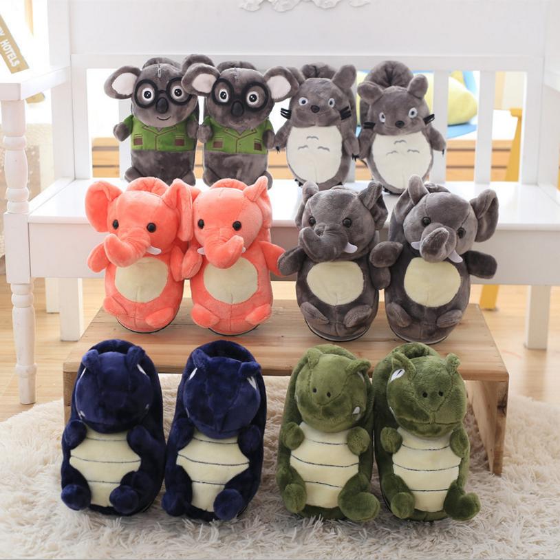Wholesale soft animals plush elephant keep warm slippers