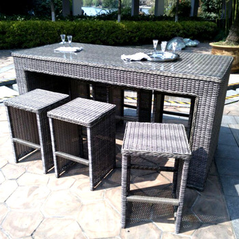 Outstanding 4Pcs Handmade Outdoor Patio Wicker Rattan Garden Bar Chair And Coffee Table Set Furniture Bar Stool Buy Rattan Wicker High Patio Plastic Dining Bar Machost Co Dining Chair Design Ideas Machostcouk