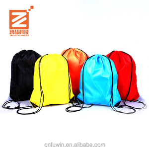 Promotional Custom 210D nylon tote/sports drawstring plain bag