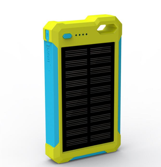 OEM power bank solar 10000mAh solar charger With LED Lamp Silicone Edge power bank 18650